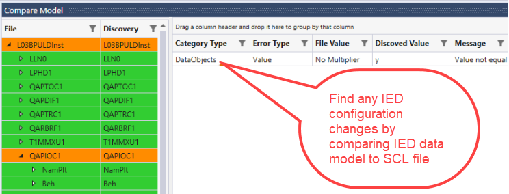 Find changes by comparing configuration on SCL File